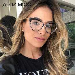 Discount eyeglass frames cat women - ALOZ MICC Fashion Cat Eye Glasses Women Brand Designer Vintage Eyeglasses Female Transparent Lens Glasses Frame A638