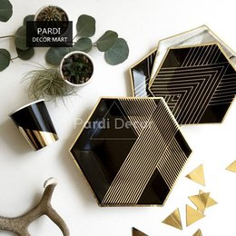 $enCountryForm.capitalKeyWord NZ - Northern Europe Light luxury black gold western dinner plate, banquet, party tableware photography props