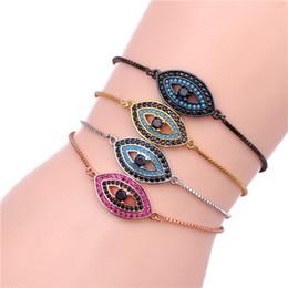 Bracelet Macrame Silver Australia - Evil Eye Bracelet Mosaic CZ Crystal Sideway Hamsa Evil Eye Macrame Bracelet for Women