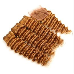 China Hot Sale Honey Blonde #27 Malaysian Deep Wave Human Hair Bundles With Lace Closure Free Part #27 Lace Closure With Virgin Hair Weaves supplier deep wave closure sale suppliers