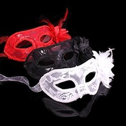 China 1 pc Fashionable Venetian Feather Lace Flower Eye Mask Masquerade Ball Costume Party Fancy Dress cheap feathers masquerade ball suppliers