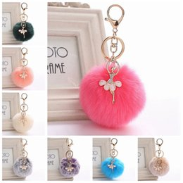 gray hair red NZ - Angel Hair Ball Keychains Ship DHL Colorful Crystal New Pattern Keyrings Women Fashion Gift Car Bag Keychain Popular Jewelry Wholesale
