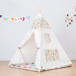 Games Deluxe NZ - New Indian Style Game Tent House Kids Indoor Toy House Cotton Canvas Deluxe Teepee Playhouse Tent Classic Portable White Teepee