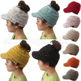97de03f5211c8 CC Beanie Tail Warm Knit Messy High Bun CC Ponytail Beanie Cap 10 Colors  Sunshade Hat Outdoor Beanies LJJO5263