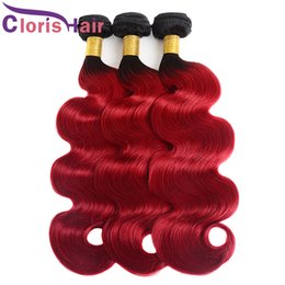dark red human hair extensions 2019 - Dark Roots Red Body Wave Hair Weaves Raw Virgin Indian Human Hair Bundles 3pcs Cheap Two Tone 1B Red Wavy Ombre Hair Ext