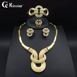 dubai jewelry sets Canada - whole saleHOT Fashion wedding Dubai Africa Nigeria African Jewelry set gold-color necklace Earrings romantic woman Bridal Jewelry Sets