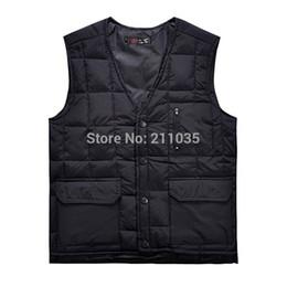 Wholesale male plus size down vest resale online - Hot Sale Male Autumn Winter Plus Size Down Vest Men Thermal Male Multi Pocke Down Waistcoat