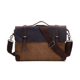 43f92eef50 Nesitu High Quality Vintage Crazy Horse Leather Canvas Men Messenger Bags  Man Briefcase Portfolio 14   Laptop Bag  M6898
