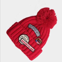 Discount wholesale letter hat patches - 2016 Autumn Winter Hot Sale Multicolor Woman Men Knitted Hat Vintage Patch Beanie Skullies Outdoors Causal Sport Ski Cap