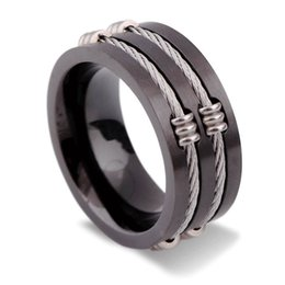 Black Cable Ring Australia - Punk Glossy Black Stainless Steel Wide Ring For Men Birthday Gift Creative Cable Inlay Tail Ring Fashion Party Jewelry Accessories Wholesale