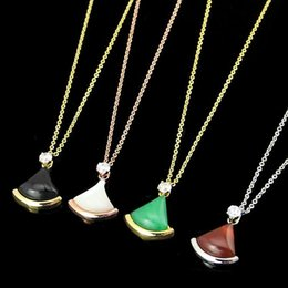 Necklaces Pendants Australia - 316L titanium steel black agate B letter black and white red and green shell necklace 18K rose gold-plated ladies pendant necklace