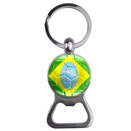 Discount flags rings Wholesale Wine Beer Bottle Openers 2018 World Cup Football National Flag Kitchen Tool Metal Key Ring Bottle Opener