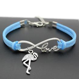 Blue Bird Bracelet online shopping - New Fashion Infinity Love Ostrich Flamingo Birds Bracelets Bangles summer Vintage Blue Leather Lovely Style Jewelry Gift for Women Men