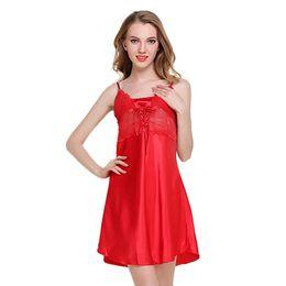 b984baf4df Nighty dress womaN online shopping - Night Dress Women Sleepwear Nighty  Satin Dress Nightgown Lace Splicing