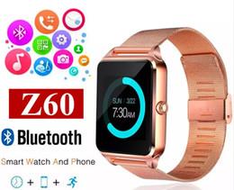 Bluetooth Smart Watch Sim Australia - Bluetooth Smart Watch Z60 Wireless Smart Watches Stainless Steel For IOS Android Support SIM TF Card Camera Fitness Tracker MQ50