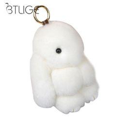 Red Rabbit Toy UK - Cute Pluff Bunny Keychain Rabbit Rex faux Rabbit Fur Key Chain For Women Bag Doll Fluffy Adorable toy keychain Keyring