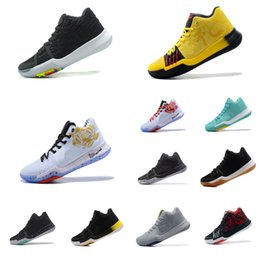 36ec4d702cb Mens Kyrie basketball shoes BHM Floral Cool Grey Yellow Black White Aqua Kyries  Irving 3 III sneakers boots tennis with box for sale
