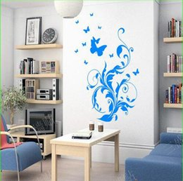 wall sticker pvc vine flower butterflies Australia - Free shipping 2016 Butterfly Flying Flower Vine Wall Stickers Decorative Living Room Tv Background Home Decor Wall Decal For Kids Bedroom