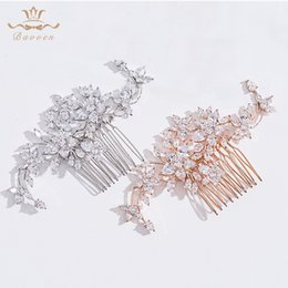 Evening Hair Combs Australia - Elegant Top Quality Clear Cubic Zircon Wedding Hair Comb Bridal CZ Headpiece Hair accessories Evening Jewelry