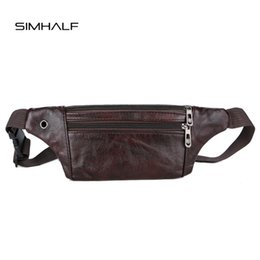 black leather belt pouch 2019 - SIMHALF Fashion Men Waist Bag Quality PU Leather Small Belt Bag Pack For Male Female Vintage Waist Pouch Fanny Pack Coin