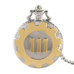 Woman Fans Australia - Fallout 76 Classic Game Fallout 4 Vault 111 Theme Quartz Pocket Watch Vintage Black Gold With Necklace Pendant for Men Women Fan