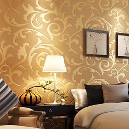 Discount Golden Wallpaper For Bedroom