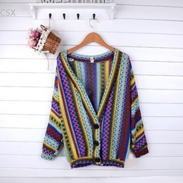 Knitted Cardigans Canada - Wholesale- Free Shipping New Autumn New Women's Ethnic Style Woven Knit Coat Stripe Cardigan Sweater Top Blouse free drop shipping