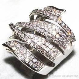 Womens Gold Filled Rings Australia - Vivid Finger Ring Unique Shaped 14k White Gold Filled CZ Diamond Full Paved Cocktail Rings for Womens wholesale Fashion jewellery