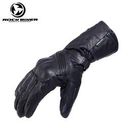 Leather Gloves Long Fingers Australia - ROCK BIKER CORE-TAX Waterproof Windproof Real Leather Motorcycle Gloves Long Men Touch Screen Motocross Moto Guantes Luvas