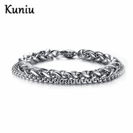 double beads 2019 - Fashion double chain bracelet For Mens Stainless Steel Bracelets Party jewelry Dropshipping discount double beads