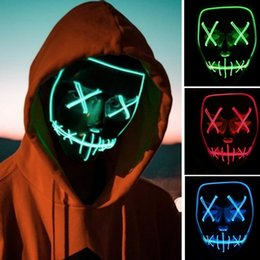 $enCountryForm.capitalKeyWord UK - 2018 New Fashion Halloween Rave Cosplay Light Up Mask Stitched El Wire Edm Purge Halloween Cosplay Prop Accessories