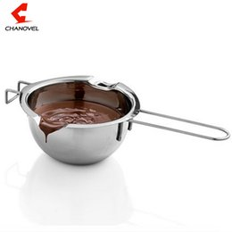 wholesale melting pots Canada - Hot Sale Stainless Steel Chocolate Melting Pot Furnace Heated Milk Bowl with Handle Heated Butter Tool Baking Pastry Tools