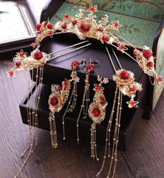 $enCountryForm.capitalKeyWord Australia - Brides, Chinese Red crowns, headwear, earrings, ancient costume, tassel, Xiu dress, wedding wedding, crown ornaments.
