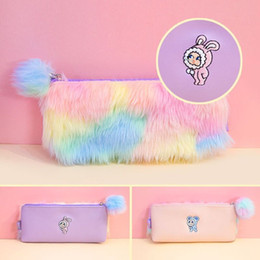 $enCountryForm.capitalKeyWord NZ - Bentoy Rabbite Prints Pencil Case Flannel Pink Girls Cosmetic Cases Korea Pompoms Makeup Bag Box Zipper Student Bags 2018 Newest