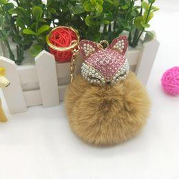 Artificial Chains Wholesalers Australia - Lovely Fox Plush Ball Key Chain For Women Artificial Rabbit Fur Bag Car Pendant Key Rings Fox Rings Holder Bag Accessories