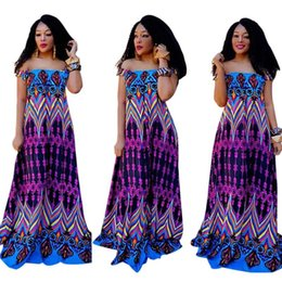 fd3708dea2a 2018 Hot Summer Women Dashiki Dress Classic Printing Off-Shoulder Maxi  Dresses African Printing Long Dress Plus Size
