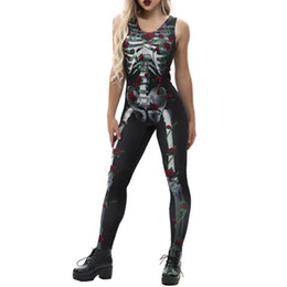 ankle length jumpsuit NZ - Women's Sexy Bone Rose Print Fashion Sling Slim Halloween Costumes Ankle-Length Jumpsuit women's gloria jeans trousers C30815
