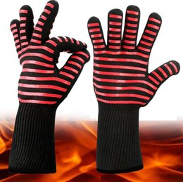 Heat resistant silicone bbq gloves online shopping - Extreme Heat Resistant Kitchen Barbecue Thick Silicon Oven Gloves BBQ Grill Long Glove For Extra Forearm Protection