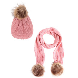 59a151b053a 6 Colors New Fashion Children Crochet Hats Scarf 2 Pieces Set Winter Warm  Boy Girl Pompoms Hat Scarves Kids Baby