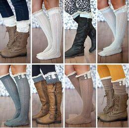 c6fd20b366d Crochet Lace Trim Cotton Knit Leg Warmers Buttons Knee High Boot Socks  Hollow Boots Cuff Women Long Boot Toppers Gaiters Kids Socks