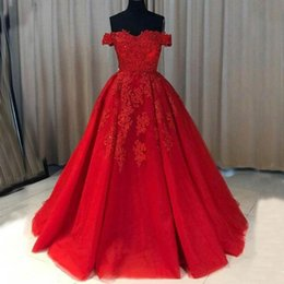 Ivory Colors Wedding Dresses NZ - 2019 Spring Red Wedding Dresses Made in China Off the Shoulder Lace Appliques A-line Tulle Bridal Gowns Zipper up Sweep Train Custom Colors