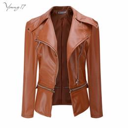 $enCountryForm.capitalKeyWord Canada - Young17 Faux Leather Jackets Women Biker Jacket Autunm Winter Army Green Khaki Black Brown Zipper PU Coat Motorcycle Outerwear