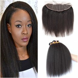 coarse yaki weave hair Australia - Kinky Straight 13x4 Full Lace Frontal Closure with 4Bundles Italian Coarse Yaki Virgin Brazilian Human Hair Weaves Extensions with Frontal