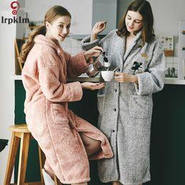 04067da376 Women Winter Bathrobes Embroidery Long Bath Robes Thick Warm Pajamas  Pockets Flannel Night Wear Clothing Robe 2018 XC016