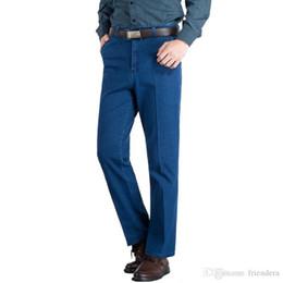 e232f6ca5e6 Summer Thin Elastic Men Classic Trousers High Waist Baggy Blue Black Male  Denim Pants Stretch Cheap Jeans Plus Size 38 39 40
