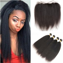 Bundle Kinky Straight Human Hair Australia - Malaysian Coarse Yaki Virgin Human Hair Weft Extensions with Frontal Closure Kinky Straight Ear to Ear 13x4 Full Lace Frontal with Bundles