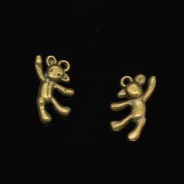 $enCountryForm.capitalKeyWord Australia - 78pcs Zinc Alloy Charms Antique Bronze Plated gymnastics lovely bear Charms for Jewelry Making DIY Handmade Pendants 19*10mm