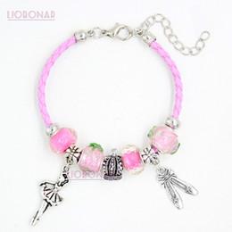 0dd30764b246 Nueva pulsera de cuero rosa Lampwork rosa Murano Glass Bead Ballet zapato  bailarina del encanto pulseras para mujeres niñas regalo de la joyería  Pulsera