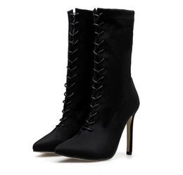 Chinese  Women's boots 2018 autumn winter new European and American foreign trade high heel stretch cloth lace-up women's shoes middle tube boots manufacturers