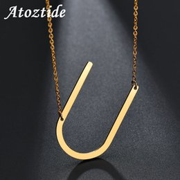 $enCountryForm.capitalKeyWord NZ - Atoztide Personalize Initial Letter U Pendant Necklace Women Stainless Steel Name Alphabet Necklace Ketting Gift